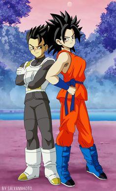 Caulifla in Goku Resurrection F Gi and Cabba in Vegeta's Resurrection F Armor