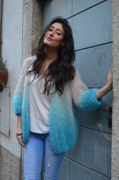 New crochet sweater oversized yarns Ideas Angora, Mohair Sweater, Crochet Fashion, Knitting Designs, Hand Knitting, Knitwear, Knitting Patterns, Knit Crochet, Sweaters