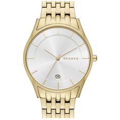 Skagen'Holst' Bracelet watch, 34mm (2 995 ZAR) ❤ liked on Polyvore featuring jewelry, watches, gold, skagen, clasp bracelet, bracelet wrist watch, dial watches and bracelet watches