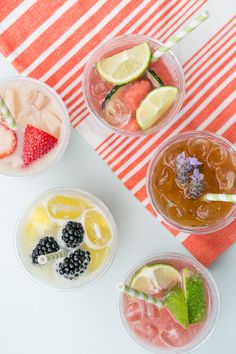 4 Delicious Agua Fresca Recipes and Bar - Sugar and Charm - sweet recipes - entertaining tips - lifestyle inspiration Sugar and Charm – sweet recipes – entertaining tips – lifestyle inspiration Mexican Food Recipes, Sweet Recipes, Dessert Recipes, Drink Recipes, Refreshing Cocktails, Summer Drinks, Fresco, Agua Fresca Recipe, Soda Recipe