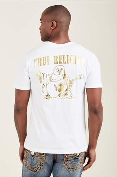 d28f03a7 Details about Men TRUE RELIGION Buddha Crew Graphic Logo T-shirt Top ...