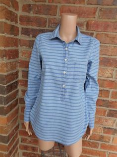 J CREW Chambray Popover Shirt Size 2 Style 02267 Striped Top Long Sleeve Blue #JCrew #Blouse #Casual