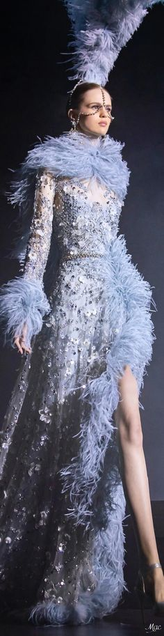 Spring 2021 Haute Couture Elie Saab Elie Saab Couture, Ellie Saab, Blue Fashion, Fashion Sketches, Shades Of Blue, Beautiful Dresses, Ready To Wear, Spring, How To Wear