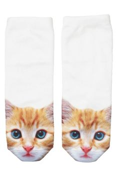 cat socks - these are creepy. would be perfect in Jeremy Scott transparent sneakers