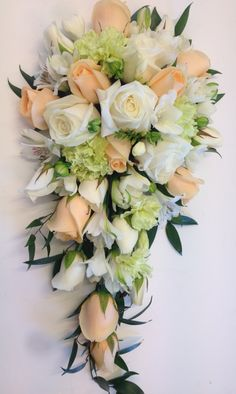 Peach cream and green bridal shower bouquet Cascading Wedding Bouquets, Cascade Bouquet, Bride Bouquets, Bridal Flowers, Flower Bouquet Wedding, Floral Wedding, Bridal Shower Bouquet, Green Bridal Showers, Church Flowers