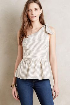 One-Shoulder Peplum Top - anthropologie.com