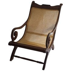 For Sale on - British Colonial, Ceylonese, mahogany rolled arm caned steamers chair. Handwoven caning in good condition. Restoration to left arm shown in photo. Colonial Chair, British Colonial Decor, Modern Colonial, Colonial Furniture, Colonial Bedroom, West Indies Style, Decks, Outdoor Living, Couches