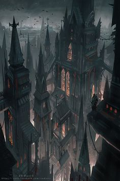 The shadowed spires of Dusken Gloom in Nulbarag, the once great capital of the South Marches