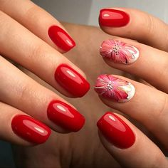 Bright spring nails, Painted red nails, Red dress nails, Red nail art, Red nails ideas, Short red nails, Stylish nails