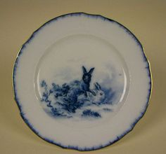 blue transferware rabbit bunny plate Flow Blue China, Blue And White China, Love Blue, Blue Chocolate, Chocolate Pots, White Dishes, Blue Dishes, Blue Bunny, Tea Service