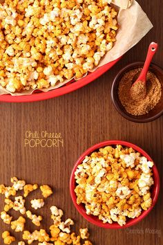 If you love chili cheese fries then you'll love Chili Cheese Popcorn, a healthier afternoon popcorn snack that still satisfies your craving for spice and cheese Gourmet Popcorn, Cheese Popcorn, Chili Cheese Fries, Popcorn Snacks, Flavored Popcorn, Popcorn Recipes, Snack Recipes, Cooking Recipes, Popcorn Flavours