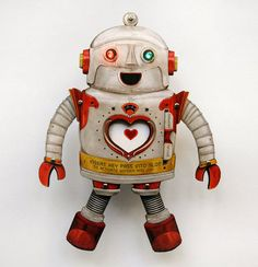 Valentine Robot Paper Art Toy with custom key card. by crankbunny Vintage Robots, Retro Robot, Vintage Toys, Antique Toys, Paper Robot, Robot Art, Valentines Robots, Vintage Valentines, Lapin Art