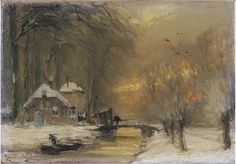 A farm by a stream in winter<br>signed 'Louis Apol f' (lower left)<br>oil on canvas<br>23.5 x 34 cm.