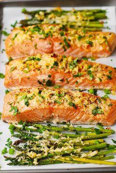 Garlic Parmesan Crusted Salmon and Asparagus – Helprecipes