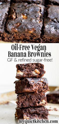 Oil-Free Vegan Banana Brownies Healthy Vegan Banana Brownies have a cake-like texture with hints of banana bread, crunchy walnuts and rich chocolate flavor! Just 120 calories per brownie. In addition to being oil-free and. Brownie Sans Gluten, Dessert Sans Gluten, Vegan Dessert Recipes, Brownie Recipes, Whole Food Recipes, Healthy Cake Recipes, Meal Recipes, Healthy Baking, Asian Recipes