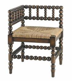 Aiken Spindle #Walnut #Corner #Chair with Rush Seat #Mecox #interiordesign #MecoxGardens #furniture #shopping #home #decor #design #room #designidea #vintage #antiques #garden