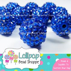 20mm DARK BLUE Rhinestone Beads Bumpy Beads Sparkly Berry Beads Pave Beads Bling DK Blue Chunky Beads Resin Round Plastic Bubblegum Beads by Lollipop Bead Shoppe