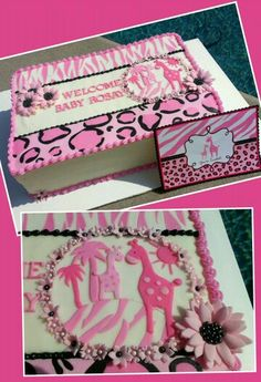 Pink Giraffe Baby Shower Cake. Made To Match The Invitation.