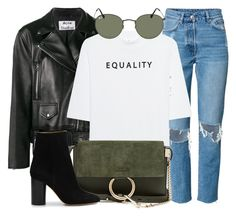 """Equality"" by monmondefou ❤ liked on Polyvore featuring Acne Studios, Soufiane Ahaddach, Ray-Ban, Chloé, Isabel Marant, black and GREEN"