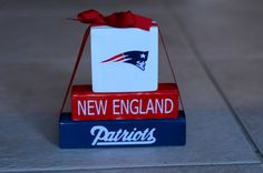 Patriots Themed Football Wood Block Stacker. Perfect for the football season.    This mini stackers blocks are 6, 5, and 3 in length and are