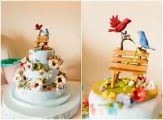 Gorgeous wedding cake of birds in a park setting....beautiful