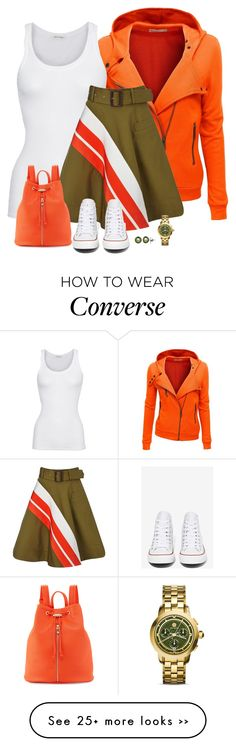 """khaki and orange"" by divacrafts on Polyvore featuring moda, Doublju, American Vintage, Preen, Converse, Neiman Marcus, Honora, Tory Burch e Original"