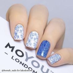 Love the idea of the white nails with a glitter accent nail Blue And White Nails, Blue Nails, Stylish Nails, Trendy Nails, Simple Nail Designs, Nail Art Designs, Stamping Nail Art, Moyou Stamping, Rose Gold Nails
