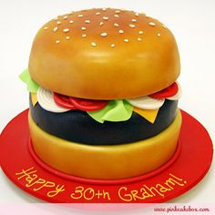30th Birthday Burger Cake by Pink Cake Box in Denville, NJ.  More photos and videos at http://blog.pinkcakebox.com/30th-birthday-burger-cake-2010-07-30.htm