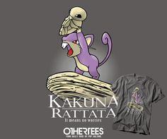 """KAKUNA RATTATA"" by NOEMIFADDA T-shirts, Tank Tops, V-necks, Hoodies and Sweatshirts are on sale until September 17th at www.OtherTees.com #tshirt #othertees #clothes #popculture #pokemon #pokemongo #games #gaming #kakuna #rattata #lionking #mufasa #simba #parody"