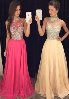 Long Prom Dresses 2017,Halter Sleeveless Backless Sweep Train