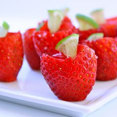 Strawberry margarita jello shots... in a strawberry. *I want to make these with agar agar instead of yucky gelatin*