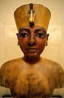 Tutankhamun found in his burial tomb in 1922 by the English Egyptologist Howard Carter in the Valley of the Kings.