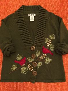 Vintage holiday sweater, red birds on on branches with embellished pinecones and embroidered leaves; The neckline adds beautiful texture to the sweater Embroidered Leaves, Usa Olympics, Beautiful Textures, Vintage Holiday, Windbreaker Jacket, Birthday Party Themes, Cool Outfits, Vintage Items, Holiday Sweaters