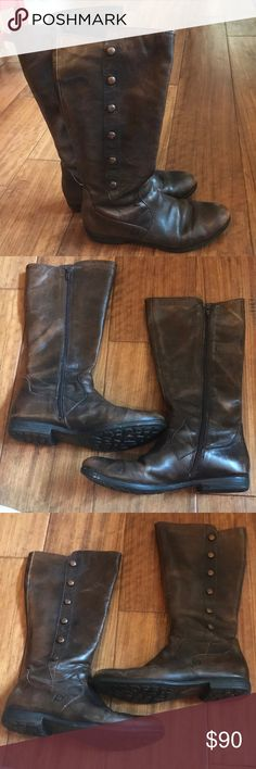 "Born Brown Leather Boots In very good used condition. Dark brown. Zipper closure. 14"" from sole to the top of the boot. Boots hit mid-calf on me. Born Shoes"