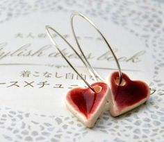 ceramic heart earrings