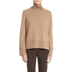 Women's Lafayette 148 New York Suede Zip Detail Wool & Cashmere Crop... ($448) ❤ liked on Polyvore featuring tops, sweaters, cammello melange, cropped sweaters, zip sweater, cashmere zip sweater, turtleneck sweater and turtle neck sweater