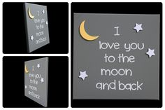3D Nursery Art - Moon and Stars - I love you to the moon and back