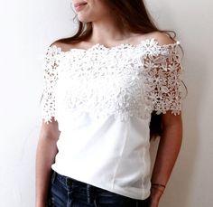 Haut Anthémis Blanc avec Dentelle boutique indépendante ! Taille 36 / 8 / S  à seulement 22.00 €. Par ici : http://www.vinted.fr/mode-femmes/hauts-and-t-shirts-t-shirts/31673728-haut-anthemis-blanc-avec-dentelle.