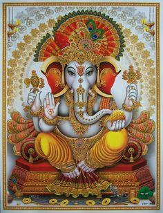 Hindu Art: Ganesha: Lord of New Beginnings, Remover of Obstacles.Ganesha should be every Counselors favorite Hindu God ! Lord Ganesha, Jai Ganesh, Indian Gods, Indian Art, Buddha, Shree Ganesh, Hindu Deities, God Pictures, Hindu Art