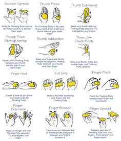 Hand exercises for putty to strengthen my shooting hand. - C Programming - Ideas of C Programming - Hand exercises for putty to strengthen my shooting hand. Theraputty Exercises, Carpal Tunnel Exercises, Arthritis Exercises, Upper Back Strengthening Exercises, Anti Stress Ball, Finger Gym, Band Workout, Workout Board, Workout Belt