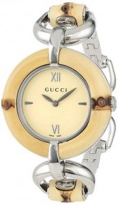 0d3382c2e2c Gucci Women s YA132404 Bamboo Special Edition Gucci Iconic Design Natural  Bamboo Watch