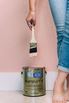 DIY || Bold Accent Wall || Painting a whole wall pink with this Mellow Coral hue from the Softer Side collection from the @HGTVHOMEbySW paint collection available at Lowe's. #partner Pink Accent Walls, Pink Accents, Pink Walls, White Walls, One Coat Paint, Farmhouse Side Table, Sherwin William Paint, Diy Bathroom Remodel, Home Upgrades