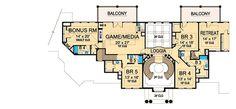 Grand Estate Home Plan - floor plan - Floor House Layout Plans, Dream House Plans, House Layouts, Architecture Artists, Architecture Design, Double Staircase, Classic House Design, Mountain House Plans, Garage Interior