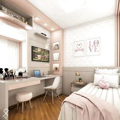 Room decor - Project @ architect leticiasantana And always a love project for girls ! Look at this room, has no charm With a lot of … architectleticiasa Cute Bedroom Ideas, Cute Room Decor, Girl Bedroom Designs, Small Room Bedroom, Girls Bedroom, Bedroom Decor, Childrens Bedroom, Bedroom Lighting, Bedroom Furniture