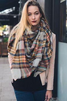 Plaid Blanket Scarf - Brown Yellow Orange Gray