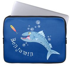 Barracuda fish hungry fishing cartoon illustration laptop sleeve   christmas fishing gifts, craft fishing, fishing dad gifts #wildtrout #onthefly #fishinggear, 4th of july party Neoprene Laptop Sleeve, Laptop Sleeves, Fishing Supplies, Custom Laptop, Fishing Gifts, 4th Of July Party, Cool Cartoons, Cartoon Styles, Gifts For Dad