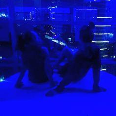 Girls on blue light