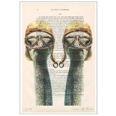 Ostriches Vintage Pilotes: digital ostrich print by Cocodeparis