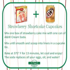 Perfect for spring and summer treats, these Strawberry Shortcake Cupcakes are made with just one can of soda and one box of cake mix. Can you say YUM? Soda Can Cakes, Cake Mix And Soda, Strawberry Shortcake Cupcake, Box Cake Recipes, Cake In A Can, Cupcake Mix, Boxed Cake, Diet Drinks