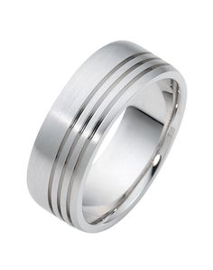 Men love it and women crave to see it on their man's finger! Besides gold he can choose Titanium, Palladium or Platinum for his ring.  Style #2015   #dorarings #mensweddingring #bestseller